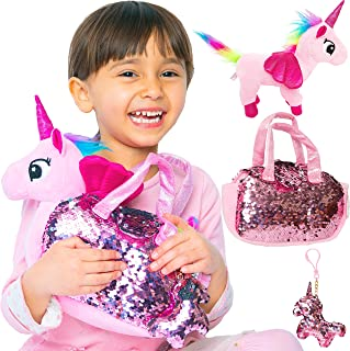 Little Jupiter Rainbow Unicorn Plush Pet Set with Purse 3 PC Unicorn Toys - Fancy Plush Toys Bag - Plush Toy - for Girl - Pink - Children - Girl Toys - Stuffed Unicorn