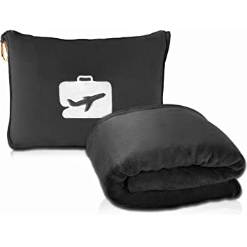 EverSnug Travel Blanket and Pillow - Premium Soft 2 in 1 Airplane Blanket with Soft Bag Pillowcase, Hand Luggage Belt and Backpack Clip (Black)