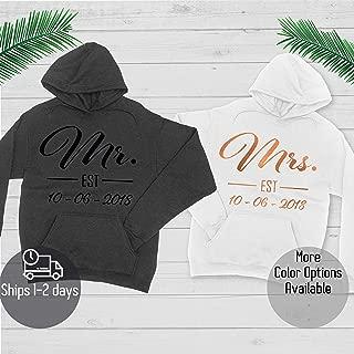Mr and Mrs Hoodie - Custom Couple Hoodie - Add Your Name on Hoodie - Custom Couple Sweatshirt