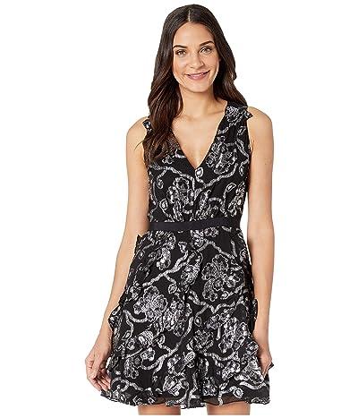 Rebecca Taylor Sleeveless Lurex Clip Dress (Black/Silver) Women