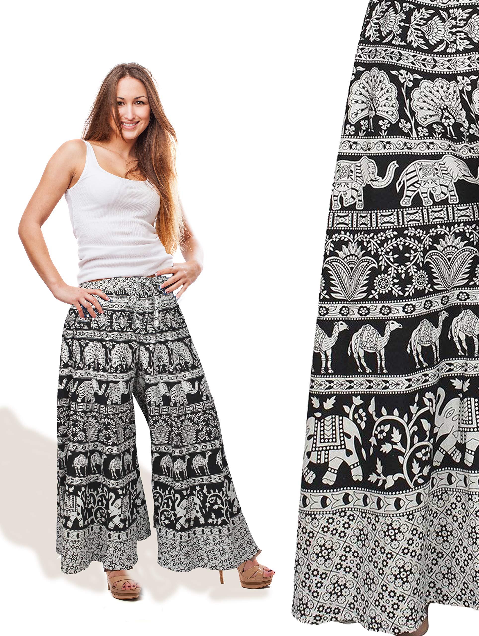 Store Indya,, 100% pantalones de algodón Palazzo para Yoga con estampado de mandala de Jaipur: Amazon.es: Hogar