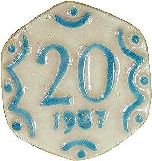 Via Kerala Handmade Ceramic Vintage 20 Pasia Coin (Cream) 1 Piece