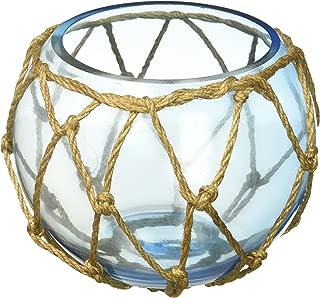 Hampton Nautical Bowl-6-LB-O Light Blue Japanese Bowl with Decorative Brown Fish Netting 6
