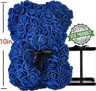 "Rose Bear Blue Rose Bears for Valentines - 10"" luxury Rose Teddy Bear, Rose Bear Teddy bear rose Artificial Rose flowers Romantic for Anniversary Christmas Valentines Birthday Gift (Royal Blue)"
