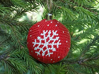 HANDMADE gift for men first Christmas ornament white red snowflake winter holiday