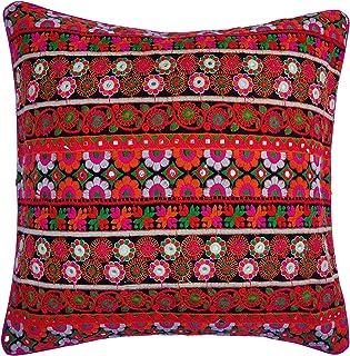 Red Designer Cushion 40X40 Jacquard Silk Throw Pillow Elephant Boho Halloween Pillow Throw Pillow