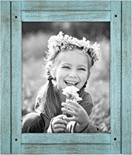 Americanflat 8x10 Turquoise Blue Distressed Wood Frame - Made to Display 8x10 Photos - Ready to Hang - Ready to Stand - Built-in Easel