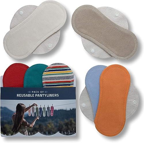 Protège-slips lavables, lot de 7 en coton BIO; Serviettes hygiéniques avec ailes MADE IN UE; Protection Eco en tissu ...