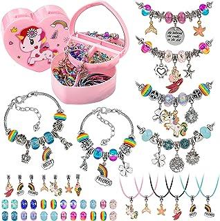 Weipabak DIY Charm Bracelet Making Kit With Unicorn Jewelry Organizer Box, 94 Pcs Jewelry Beads Making Supplies Snake Chai...