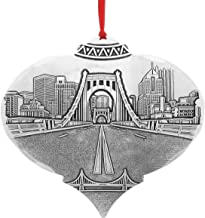 Wendell August Pittsburgh's Clemente Bridge Hanging Ornament - Detailed Hand-Hammered Aluminum Clemente Bridge w/View from North Shore Ornament - Made in USA Tree Decoration, 4.5