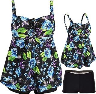 ANTSANG Womens Plus Size Swimsuits Swimwear Bathing Suit Two Piece Tankini Floral Print