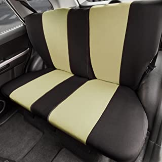 FH Group FB039013 Multifunctional Cloth Split Bench Seat Cover (Full Split Bench Coverage) Beige/Black- Fit Most Car, Truck, SUV, or Van