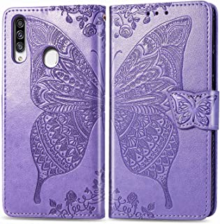 FanTing Case for Samsung Galaxy A20s,Flower Butterfly Print Mobile Wallet Flip Cover with Mobile Phone Holder and Card Slo...