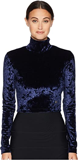 Cropped Velvet Turtleneck