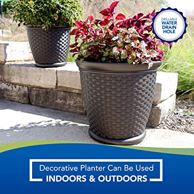 """Suncast 22"""" Sonora Resin Wicker Planter Contemporary Lightweight Flower Pot for Indoor and Outdoor Use, Home, Yard, or Ga"""