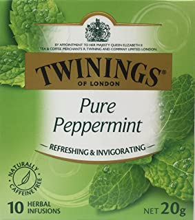 Twinings Pure Peppermint Herbal Tea Infusions - 10 Count, 0.7 oz Box Caffeine Free
