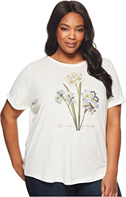 Plus Size Floral Linen-Blend T-Shirt