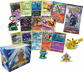 100 Pokemon Cards with 2 EX Ultra Rares! Rares Holos 1 Pokemon Booster Pack and 1 Pokemon Figure! Includes Golden Groundhog Storage Box!
