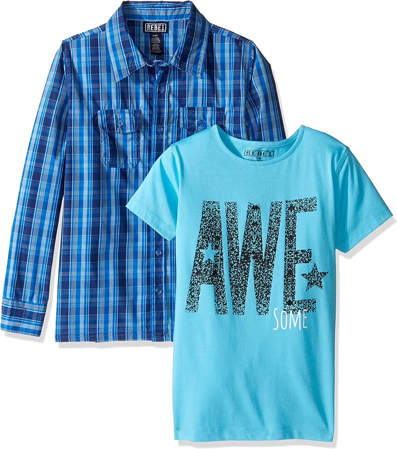 Rebe1 Boys' Plaid Button Down with 2 Pockets with Screen Tee-2 Pc Set