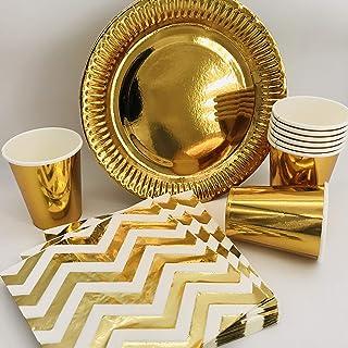 Teller Einweg Partyteller gold aus PS rund Ø 22 cm Hochzeit Weihnachten Jubiläum