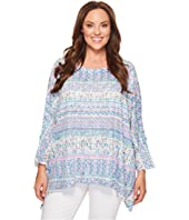 Nally & Millie - Plus Size Ikat Stripe Printed Tunic