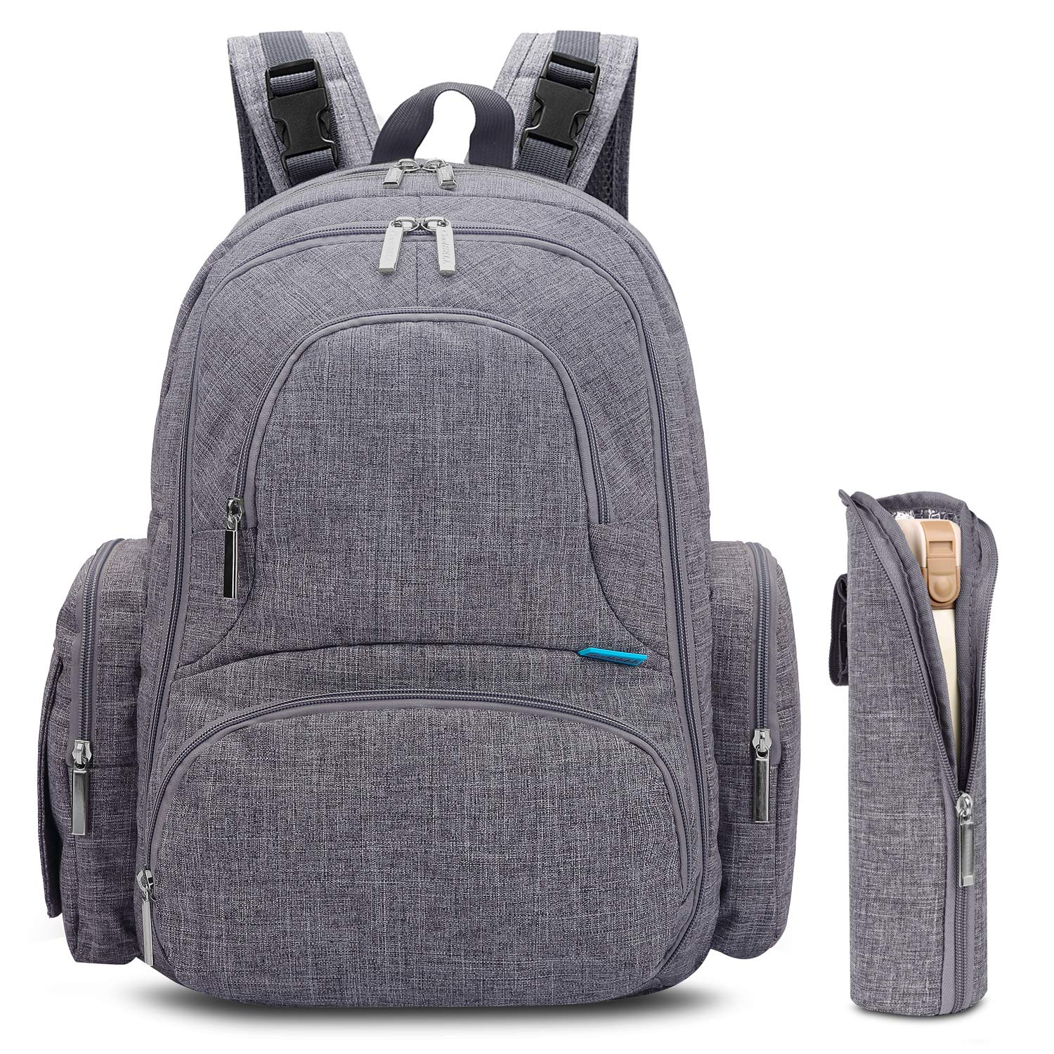 CoolBELL Diaper Backpack With Insulated Pockets/Large Size Water-resistant Bag/Multi-functional Travel Knapsack Include Pad (Grey)