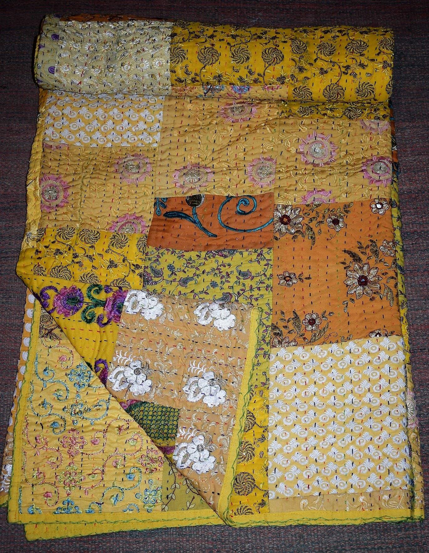 Reversible Twin Kantha Quilt Handmade Vintage Throw Bohemian blanket Indian Bedspread Coverlet Gudri