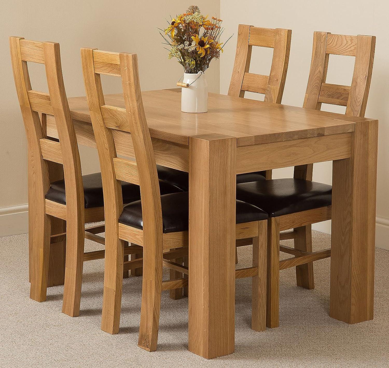 OAK FURNITURE KING Kuba 9 x 9cm Oak Small Dining Table and 9 ...