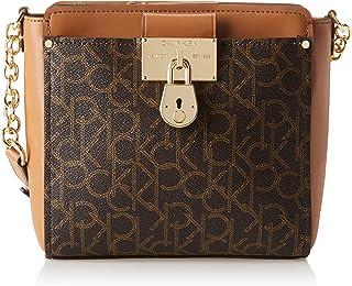 Calvin Klein Camille Organizational Signature Crossbody, Brown/Khaki/Caramel