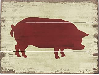 Barnyard Designs Red Pig Silhouette Retro Vintage Wooden Plaque Bar Sign Country Home Decor 15.75