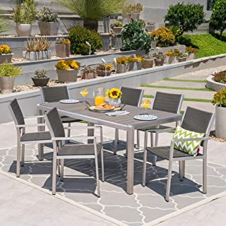 Christopher Knight Home Cape Coral Outdoor Rectangle Aluminum 7-Piece Dining Set by Silver Frame + Grey no Glass