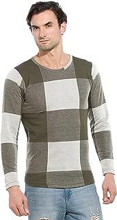 Alan Jones Men's Cotton Full Sleeves Self Design T-Shirt