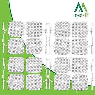 Almohadillas de electrodos autoadhesivos Med-Fit TENS / EMS. 16 Electrodos 4 Pack de electrodos hipoalergénicos de larguísima duración de la más alta calidad 5cm x 5cm- Adecuado para todas las decenas con conectores de 2 mm.