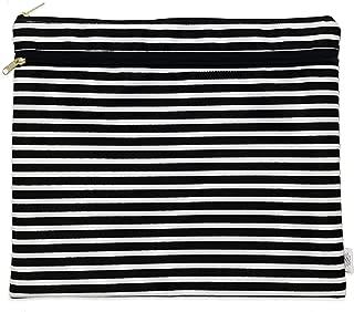 Logan + Lenora Bikini Bag - Waterproof Portfolio Pouch - Packing + Swim Pouch (Black & White Stripe)