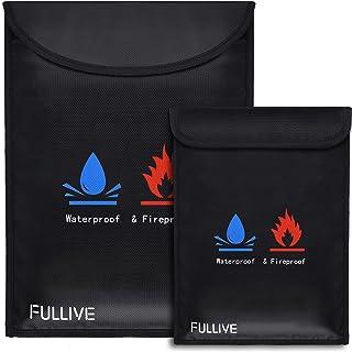 "Fireproof Document Bags,Fullive 15"" x11"" Fireproof Waterproof Safe Bag,7"" x 9"" Fire Proof Money Pouch, Fire Water Resistan..."