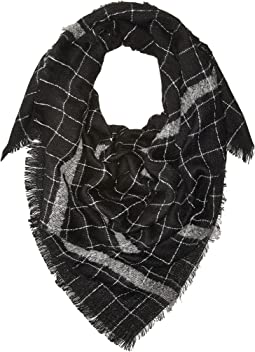 Hat Attack - Windowpane Scarf with Border Stripe