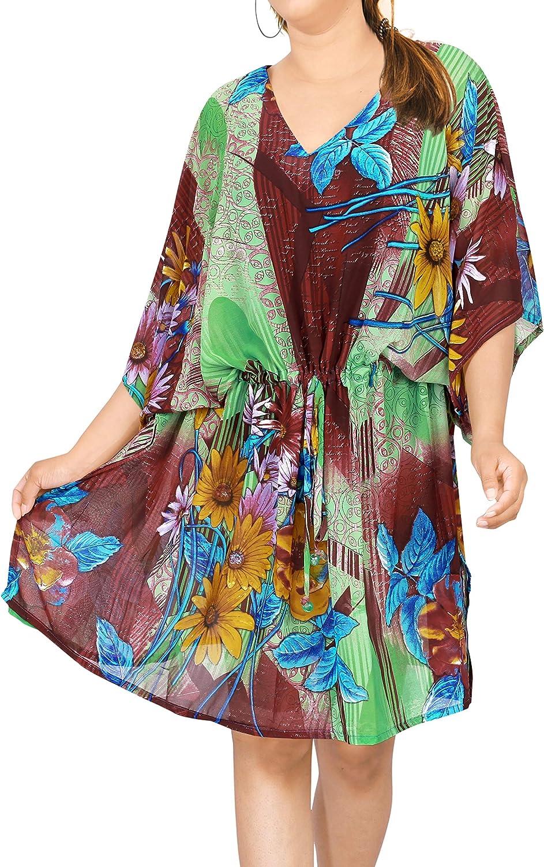 LA LEELA Womens Kaftan Tunic Kimono Ladies Summer Women Evening Mini Party Dress