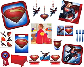 BlackLabel Direct Superman Birthday Mega Party Supply Bundle for 8 Guests - Includes Tableware, Decorations, Party Favors and Cape and Medal for The Guest of Honor