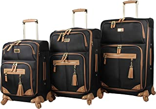 3 Piece Softside Spinner Suitcase Set Collection (One Size, Harlo Black)