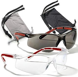 عینک ایمنی محافظت از چشم - عینک راحتی - 2 جفت ، 2 بند ناف ، 2 مورد - فن آوری لنز SuperLite و SuperClear ، Z87.1 - CE 166 مجوز