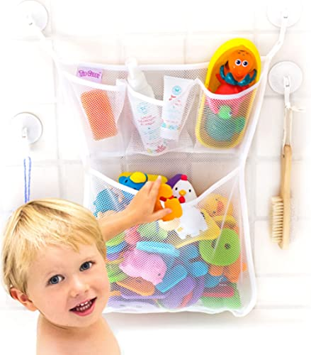 "Tub Cubby Bath Toy Organizer + Baby Rubber Ducky - 14""x20 Mold Resistant Mesh Net Basket - 3 Soap Shampoo Dividers - ..."