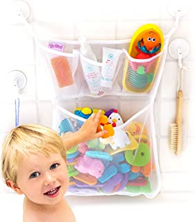 "Tub Cubby Bath Toy Organizer + Baby Rubber Ducky – 14""x20 Mold Resistant Mesh.."