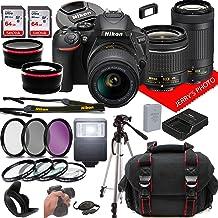 Nikon D5600 DSLR Camera w/NIKKOR 18-55mm f/3.5-5.6G VR + 70-300mm f/4.5-6.3G ED Lenses + Case + 128GB Memory (28pc Bundle)