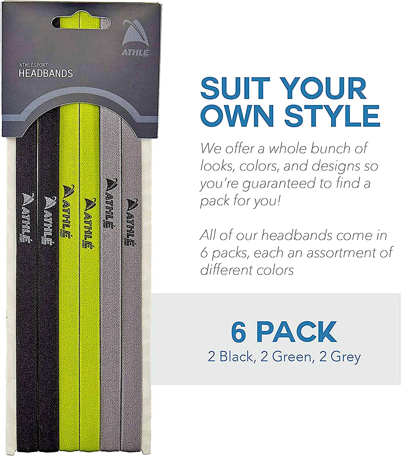 Athle Skinny Sports Headbands 6 Pack Men/'s and Women/'s Elastic Hair Bands with Non Slip Silicone Grip Lightweight and Comfortable Sweatbands Keep You Cool and Dry