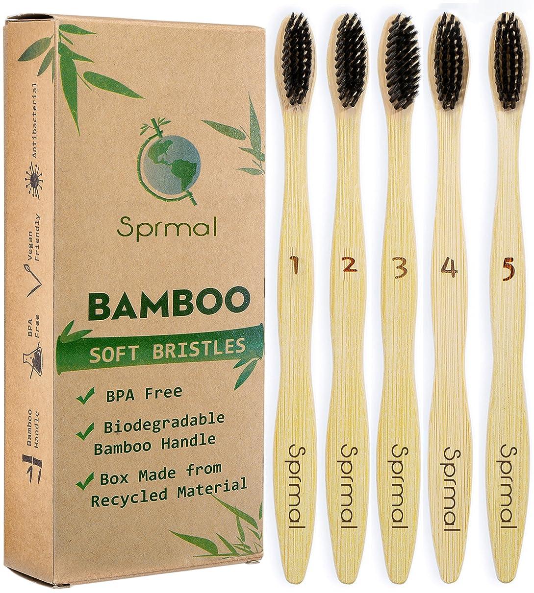 シガレットローラーハードリングSprmal Eco-Friendly Natural Bamboo Charcoal Toothbrush-Pack of 5,Individually Numbered,Zero Plastic Packaging,Biodegradable Organic Bamboo Handle and BPA Free Soft Nylon Bristles for Sensitive Gums 141[並行輸入]