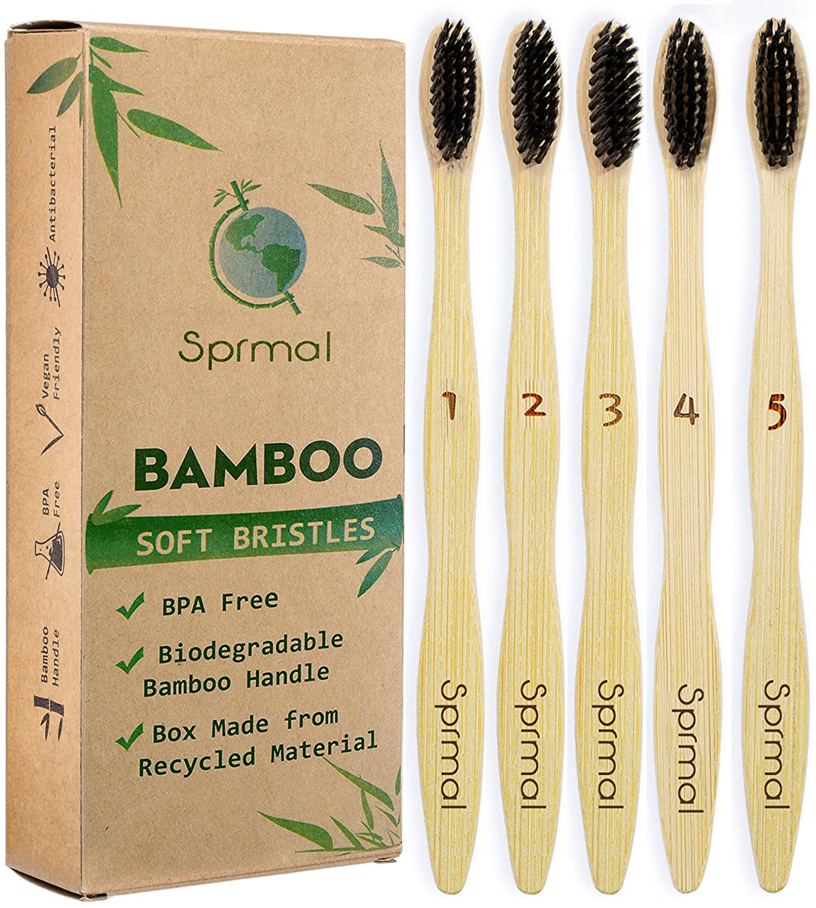 Sprmal Eco-Friendly Natural Bamboo Charcoal Toothbrush-Pack of 5,Individually Numbered,Zero Plastic Packaging,Biodegradable Organic Bamboo Handle and BPA Free Soft Nylon Bristles for Sensitive Gums 141[並行輸入]