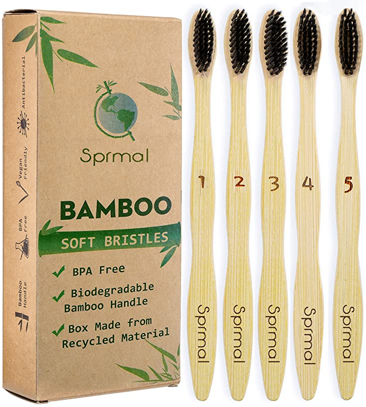 状態厄介な本を読むSprmal Eco-Friendly Natural Bamboo Charcoal Toothbrush-Pack of 5,Individually Numbered,Zero Plastic Packaging,Biodegradable Organic Bamboo Handle and BPA Free Soft Nylon Bristles for Sensitive Gums 141[並行輸入]