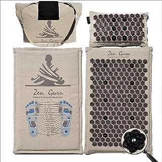 ZenGuru New Natural Acupressure Mat & Pillow Set - Effective Remedy for Sciatica, Back & Neck Pain - Trigger Point Massage - Stress Relief - W/Magnet Therapy (Lotus Spike Mat & Pillow - Natural Linen)
