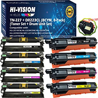 (BCYM, 8-Pack) HI-VISION HI-YIELDS Compatible DR-223CL DR223CL Drum Units & TN-227 TN227 Toner Cartridge Replacement (with Chip,High Yield), for HL-L3210CW HL-L3270CDW HL-L3290CDW MFC-L3710CW