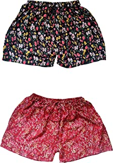 Fressia Fabrics Pure Rayon Floral Printed Casual Free Size Shorts Sleepwear for Women and Girl Pack of 2